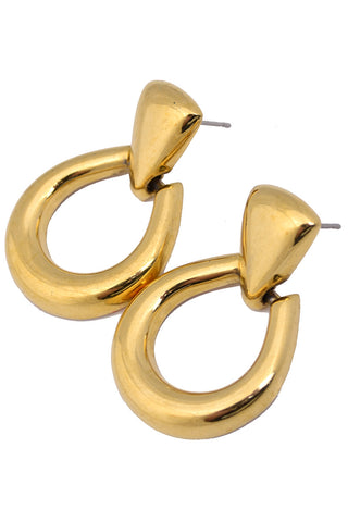 Trifari Vintage Gold Tone Statement Earrings Oversized Interlocking Pierced