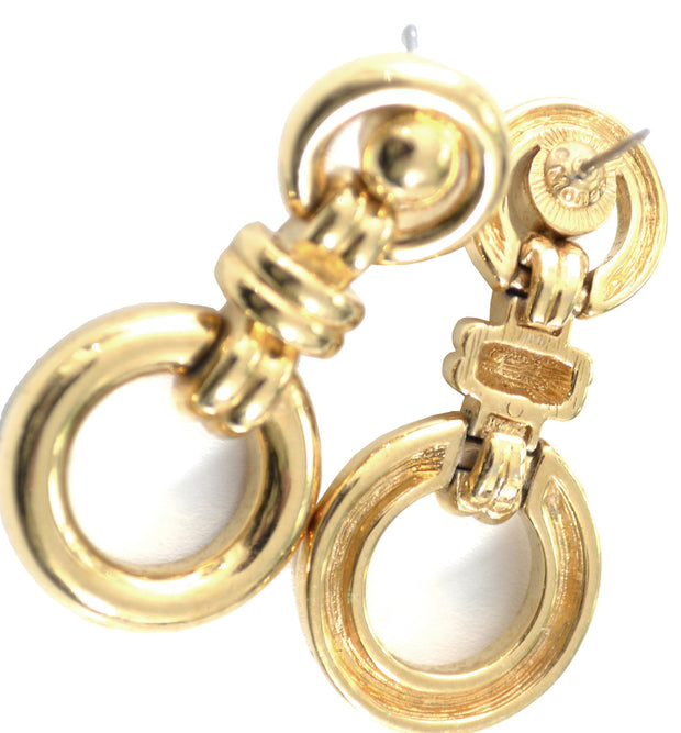 Gold tone pierced Monet Door Knocker style Vintage Earrings - Dressing Vintage