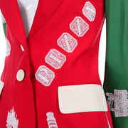 1991 Red & Green Moschino Couture Vintage Camp Jacket W Lace Italian Landmarks