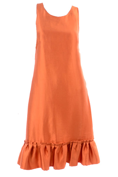 Moschino sleeveless silk orange tent dress