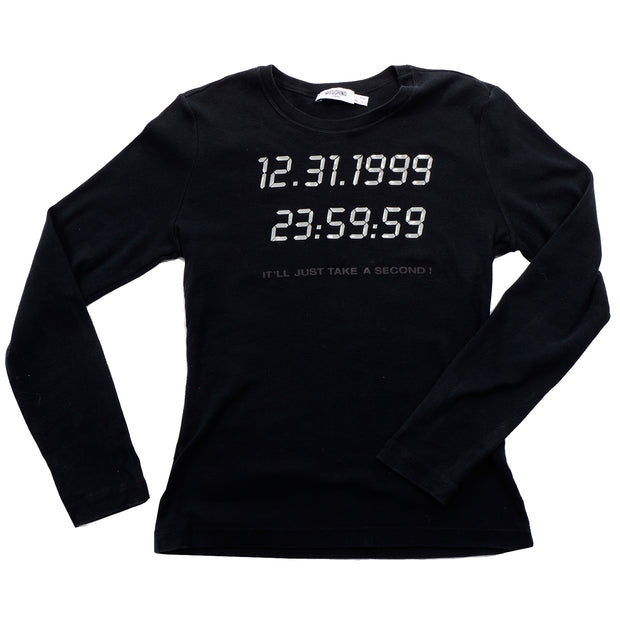1990s vintage Moschino 1999 Y2K Long Sleeve Black Shirt