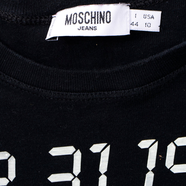 Rare 90s Top vintage Moschino 1999 Y2K Long Sleeve Black Shirt