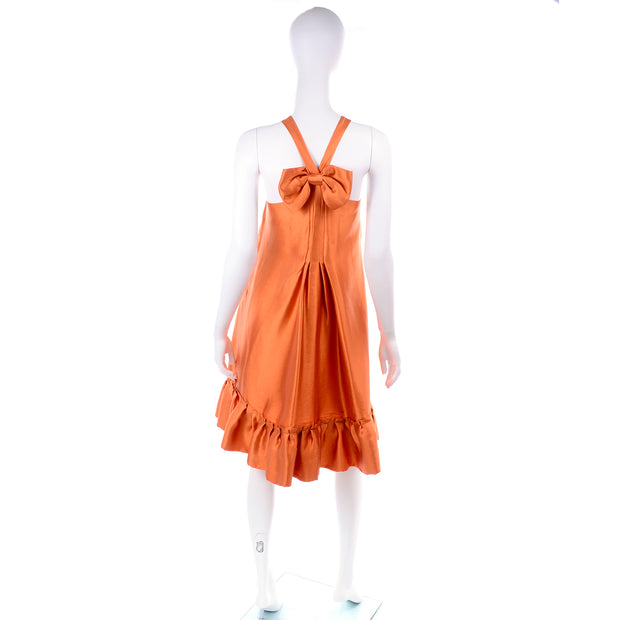 Moschino burnt orange silk tent dress with back bow