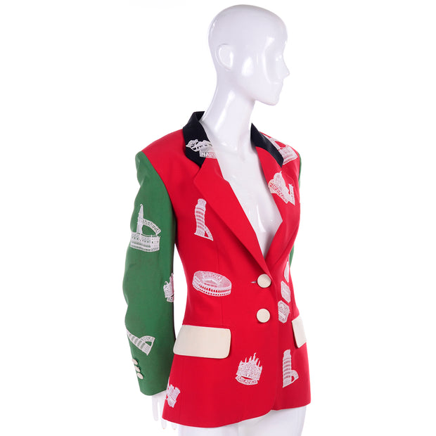 Lace patch red and green blazer jacket by Moschino