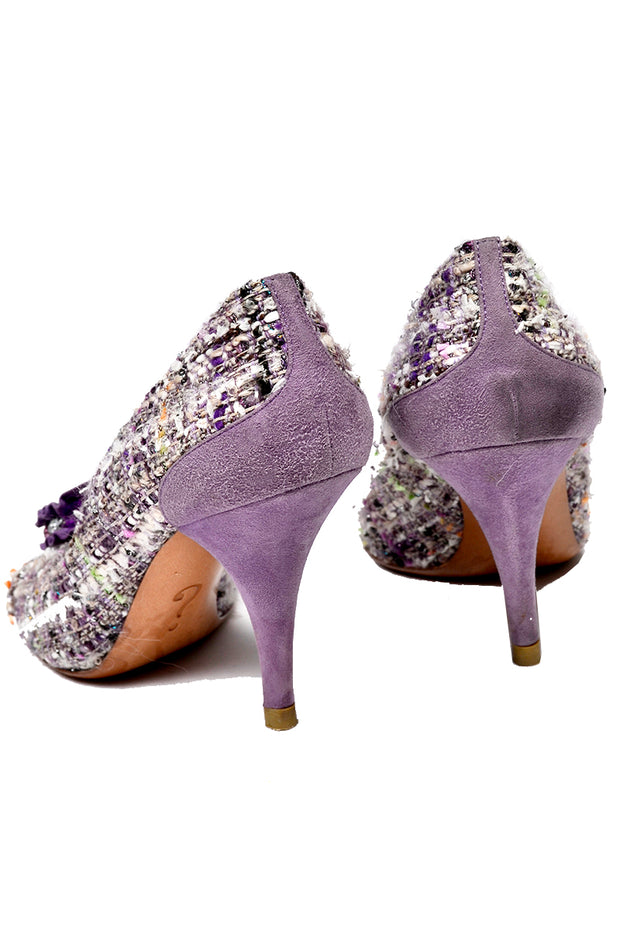 Moschino Vintage Purple Tweed Open Toe Shoes 3.5 Inch Heels