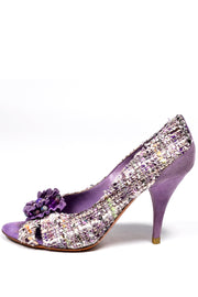 Moschino Vintage Purple Tweed  Peep Toe Shoes With 3.5 Inch Heels