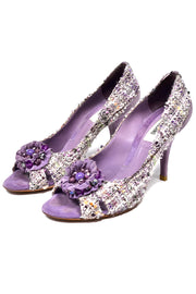 Moschino Vintage Purple Tweed Open Toe Shoes Heels