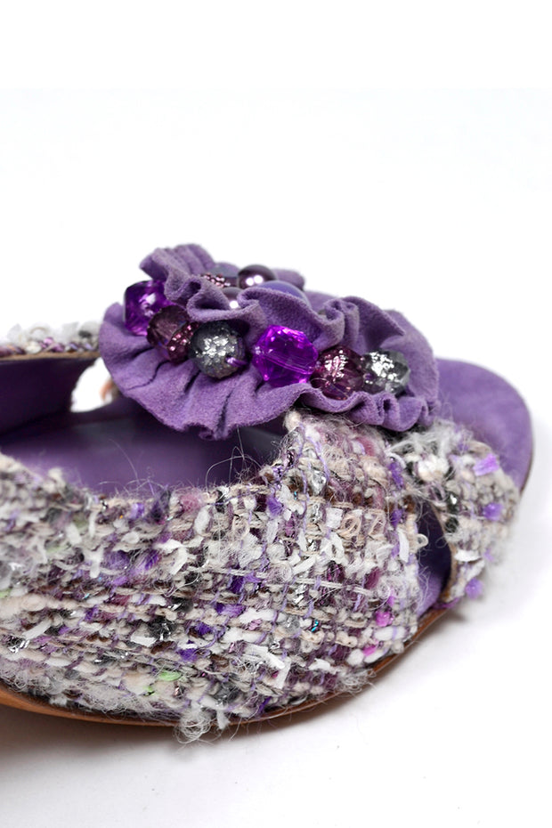 Moschino Vintage Purple Tweed Open Toe Shoes With Beaded Roses 3.5 Inch Heels