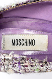 Moschino Vintage Purple Tweed Open Toe Shoes With Beaded Rosettes