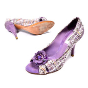 Moschino Vintage Purple Tweed Open Toe Shoes With 3.5 Inch Heels