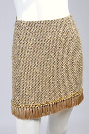 Moschino Gold Woven Skirt w/ Chain Detail & Tassel Fringe