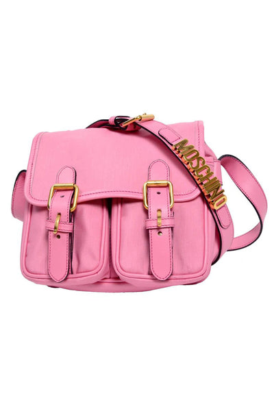 Moschino bubblegum pink canvas shoulder bag with gold hardware