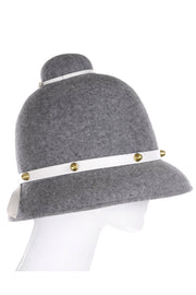 Mr. John Classic Vintage Grey Felt Hat White Leather Trim