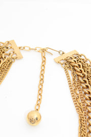 Vintage Gold Tone Ball Charm Multi Strand Chain Necklace