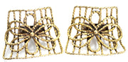1960's MUSI Signed Vintage Shoe Buckles Cut Brass - Dressing Vintage