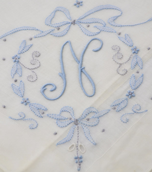 Madeira Vintage Monogrammed N Handkerchief Something Blue w/tag - Dressing Vintage