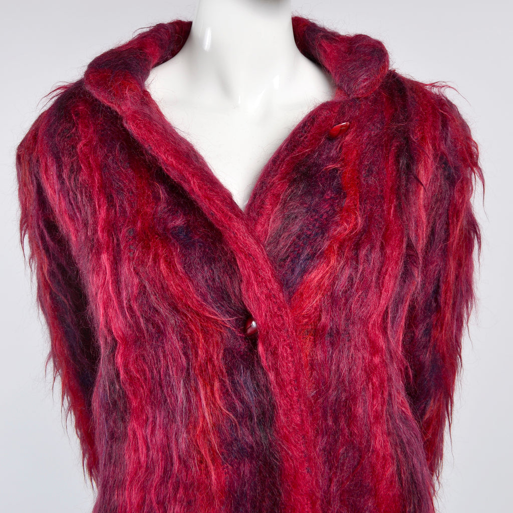 Hand Woven Red Purple Mohair Vintage Coat