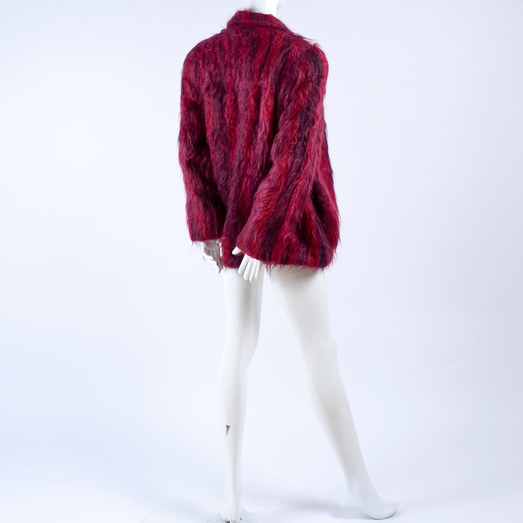Vintage Hand Woven Coat in Red Mohair