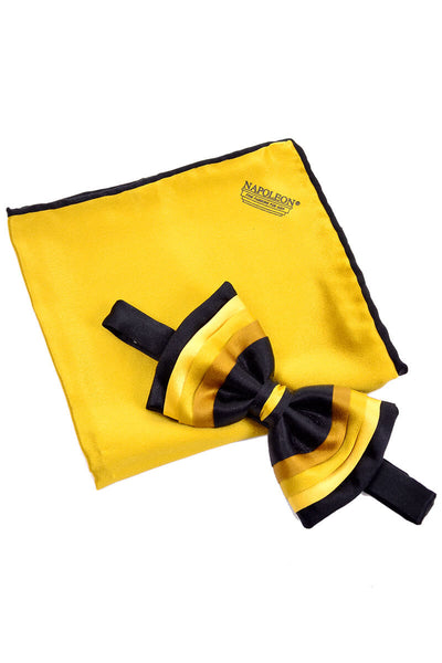 Yellow and black ombre vintage bow tie and silk pocket square set