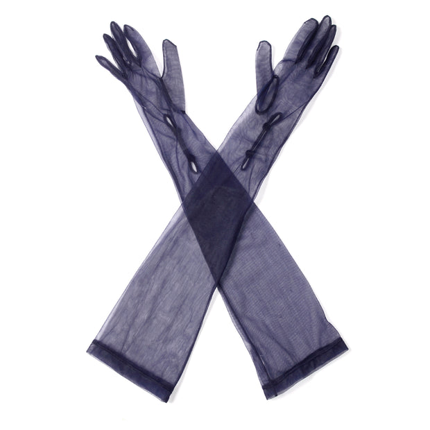 1950s Sheer Navy Blue Nylon Long Opera Gloves 6