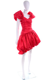 1980s Neiman Marcus Vintage Red Dress Poof Skirt