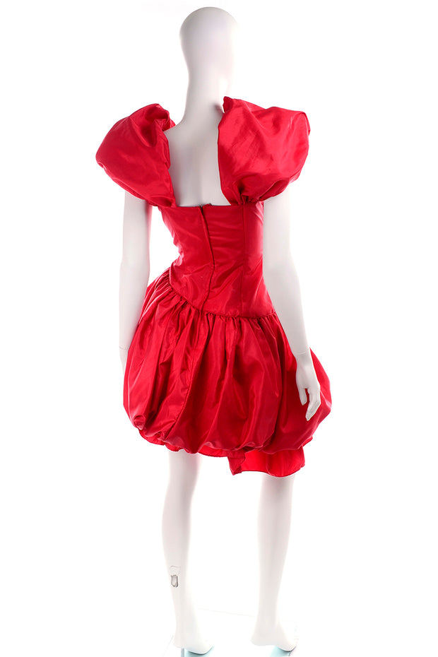 1980s Neiman Marcus Vintage Red 80s Dress