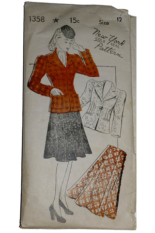 New York Pattern 1358 1940s Jacket & skirt