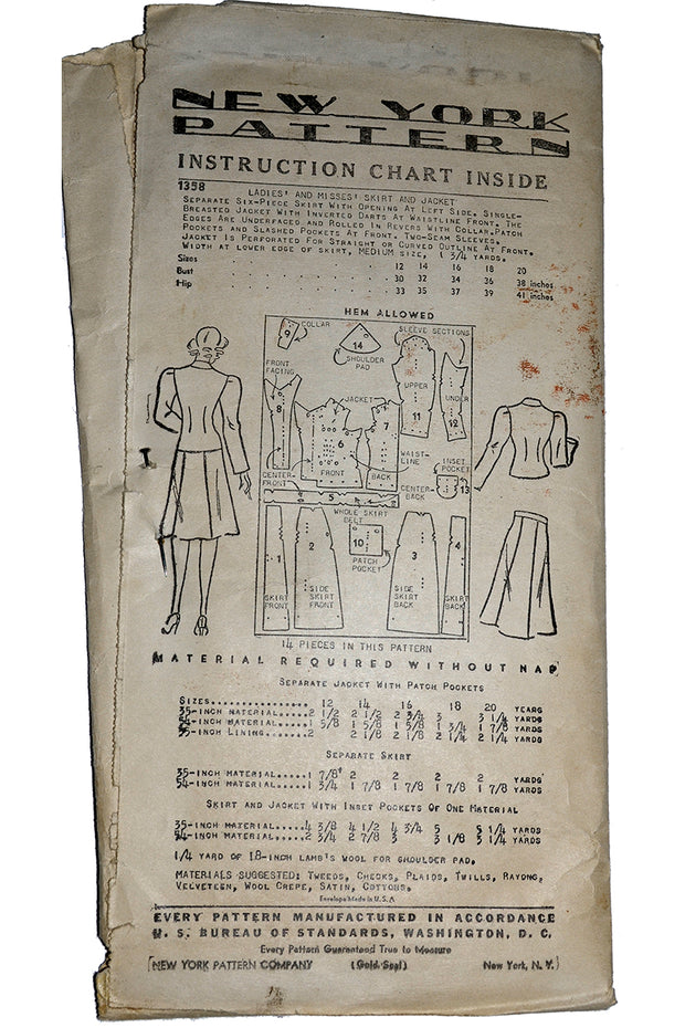 1940s Jacket & Skirt Pattern New York 1358