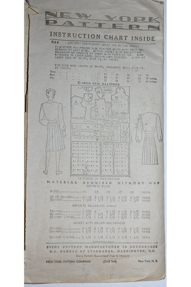 1940s Sewing Pattern New York 944