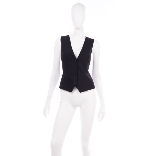 Dolce & Gabbana New With Original Tags Black Tuxedo Vest w Purple Leopard Back Deadstock