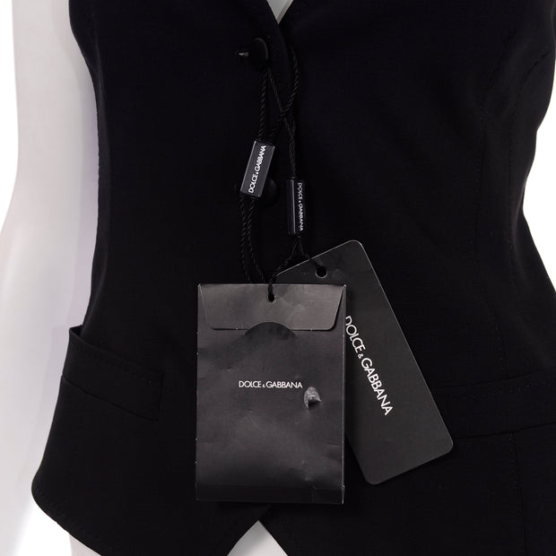 Dolce & Gabbana New With Original Tags Black Tuxedo Vest w Purple Leopard Back Deadstock Clothing