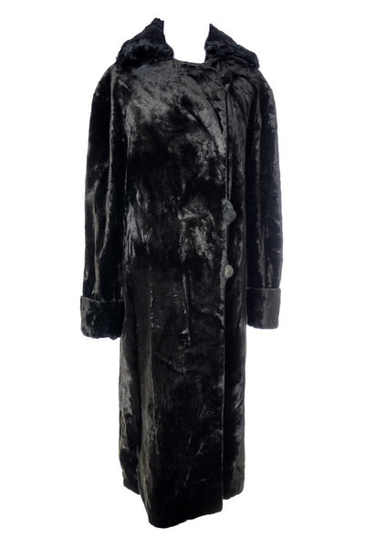 1900's Vintage Victorian Faux Sealskin Coat New York Cloak Suit House - Dressing Vintage