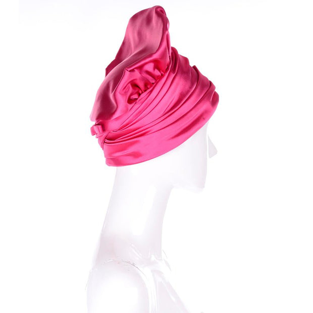 1960s Pink Satin Structured Tall Vintage Statement Hat from Nicholas Ungar Boutique