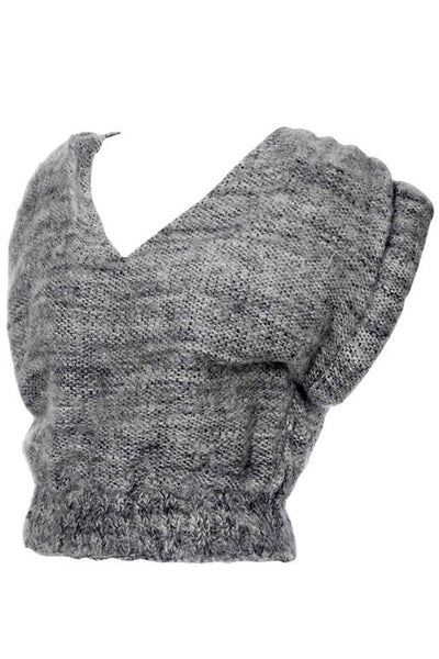 Gray handwoven wool vest sweater