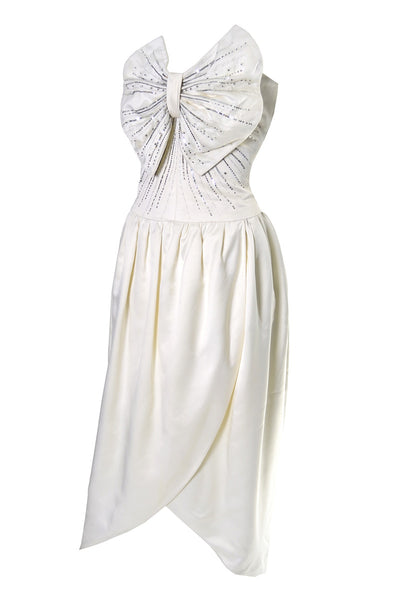 Vintage Nina Ricci Haute Boutique Paris Ivory Satin Beaded Dress - Dressing Vintage