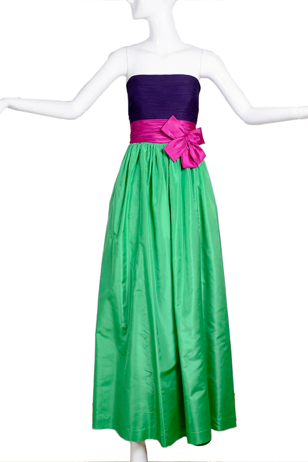 Vintage Nina Ricci green purple and pink evening dress
