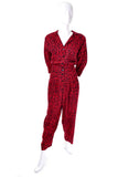 1980s Nora Noh Vintage Red Black Jumpsuit