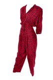 Nora Noh Vintage Red Black Jumpsuit 1980s