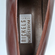 1970's Cognac Brown Leather Women's Oxford Loafers Size 8 - Dressing Vintage