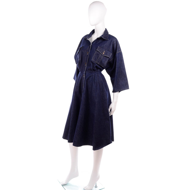 1980s Norma Kamali button down chambray denim dress