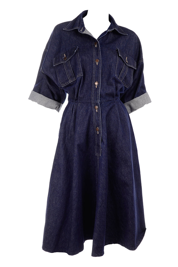 Norma Kamali vintage denim day dress