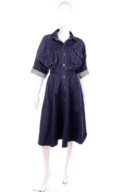 Norma Kamali cuffed sleeve denim dress