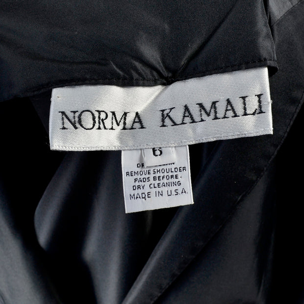 Norma Kamali Black Taffeta Dress Vintage 1980s