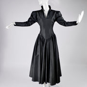 Norma Kamali Black Taffeta Vintage Dress