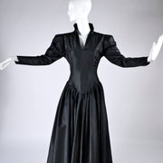 1980s Norma Kamali Black Taffeta Dress With Full Skirt - Dressing Vintage