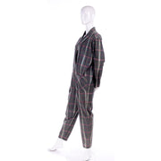 Norma Kamali Vintage 1980s Gray Burgundy Yellow Plaid Jumpsuit