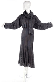 Norma Kamali Grey Striped Vintage Dress w/ Scarf