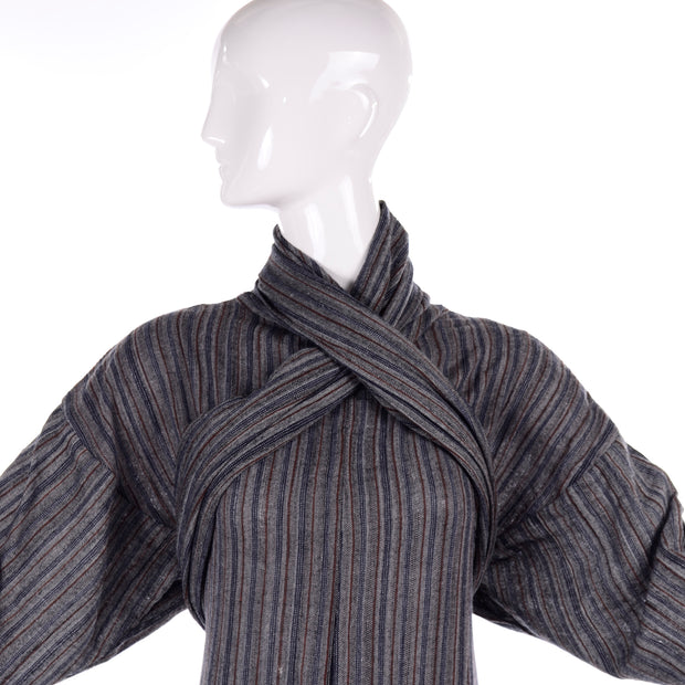 1980s Norma Kamali Gray Striped Vintage Dress w/ Godet Hem & Attached Scarf