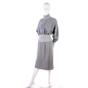 1980s Norma Kamali Iconic Gray Sweats Dress w/ Sweater Top & Skirt Small