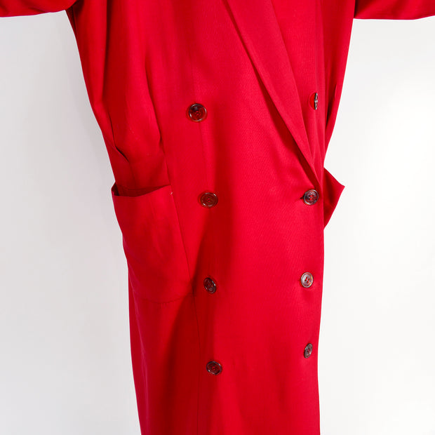 1980s Norma Kamali Oversized Double Breasted Long Red Wool Coat